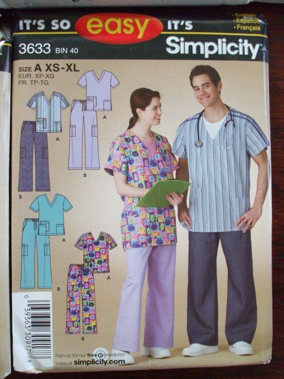 Simplicity 9896 Mens Womens Scrub Top Pants Jacket Pattern Easy to Sew Sz XS-XL