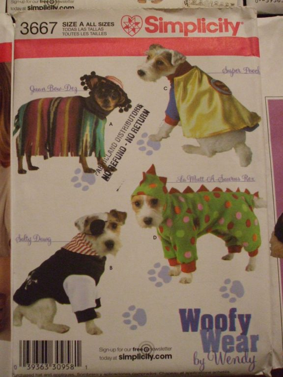 3667 & sewing pattern Lg Sm Dog costumes Pumpkin princess hot dog dinosaur ...
