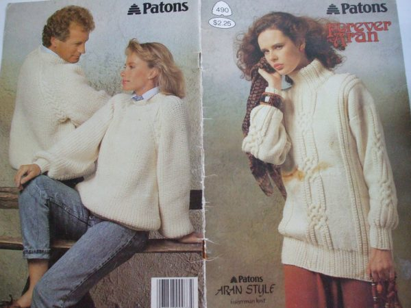 490 Forever Aran Fisherman Patons Knitting Patterns Men Women Skirt