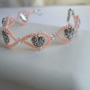 BC016 heart bead pink seed bracelet $23