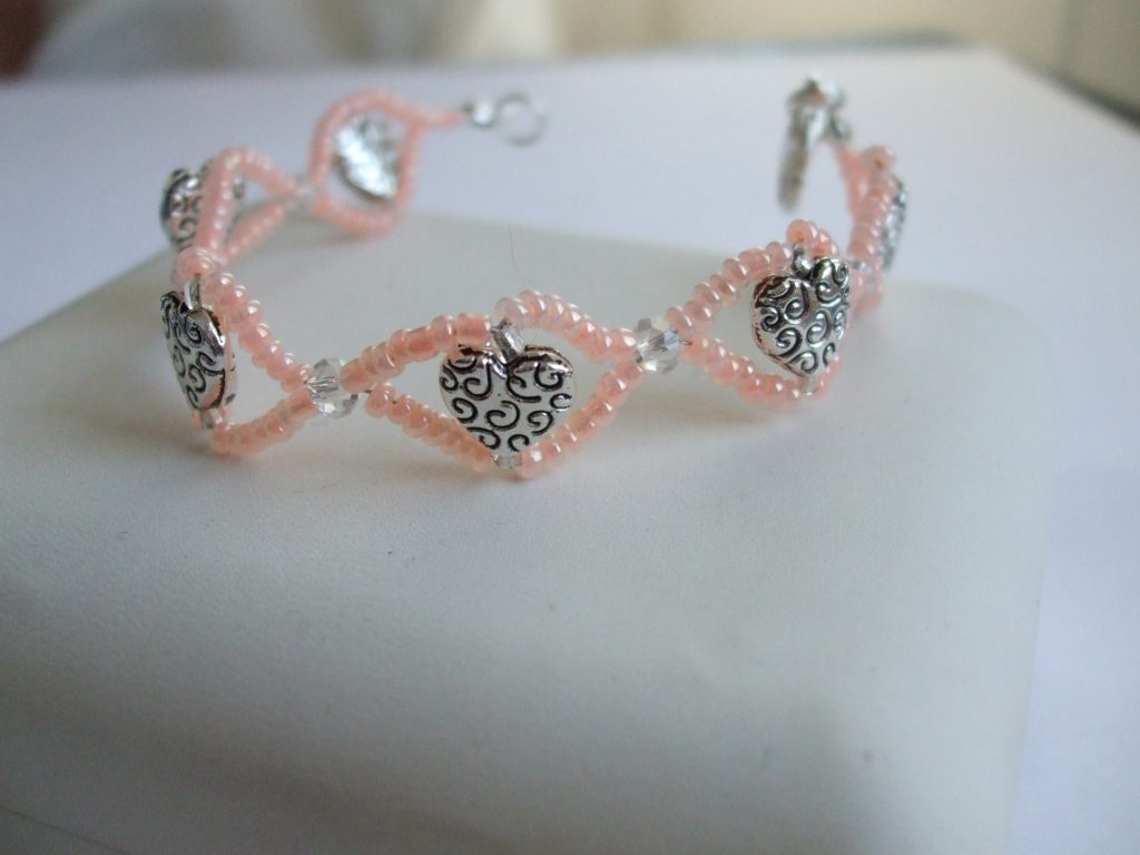 BC016 heart bead pink seed bracelet $23