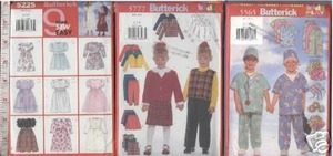 CHILD CLOTHES x3 SEWING PATTERN sz6-8 DRESS PANT SHORTS