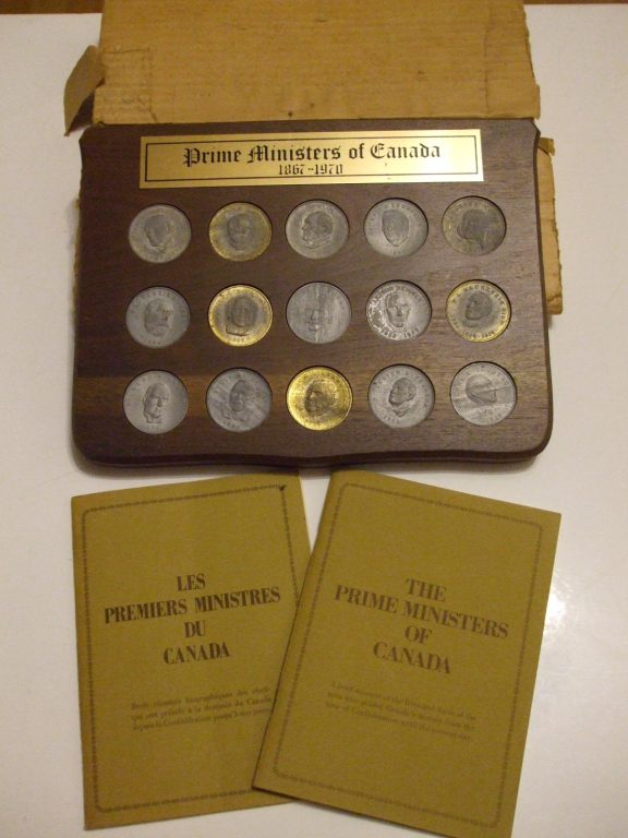 Canada Prime Ministers coins x15 1970 wood plaque