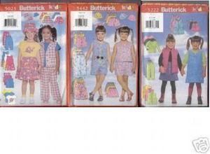 GIRLS CLOTHES x3 SEWING PATTERN sz5-6x SHORTS JACKET
