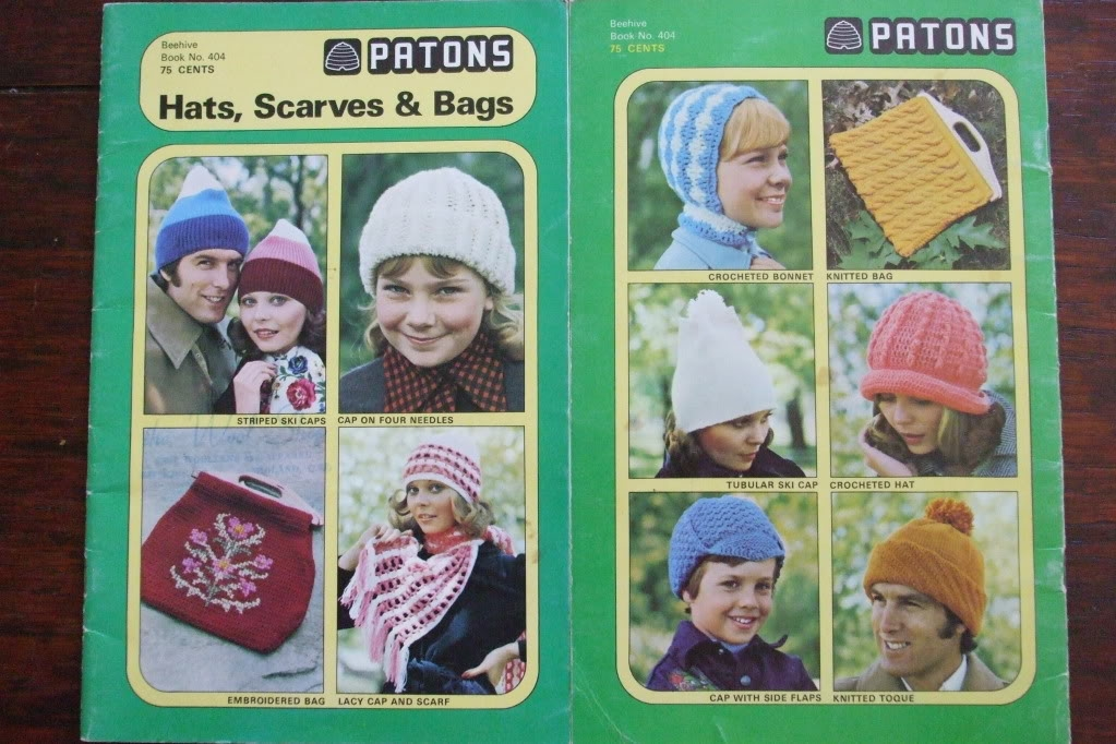 Knit Crochet Patterns Retro Hats Bags Scarves 404 Patons Beehive