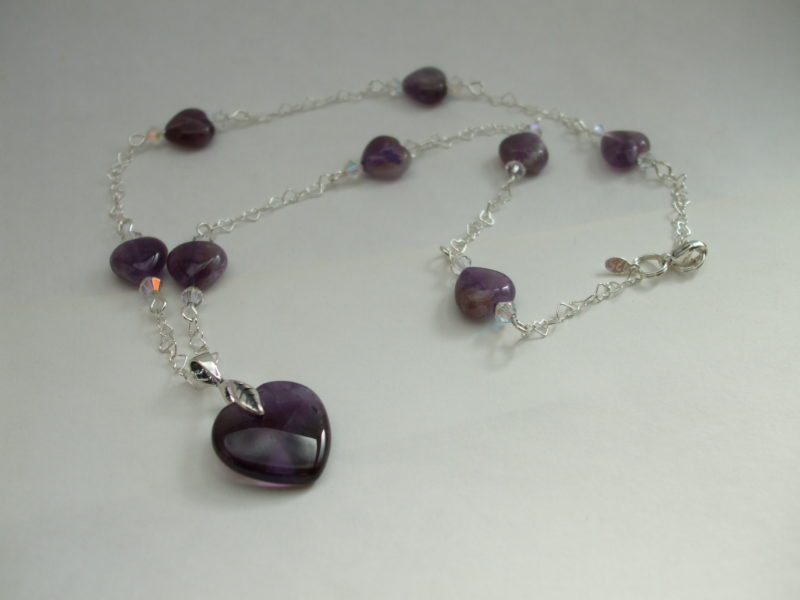NK007ss Sterling heart chain necklace amethyst hearts $69
