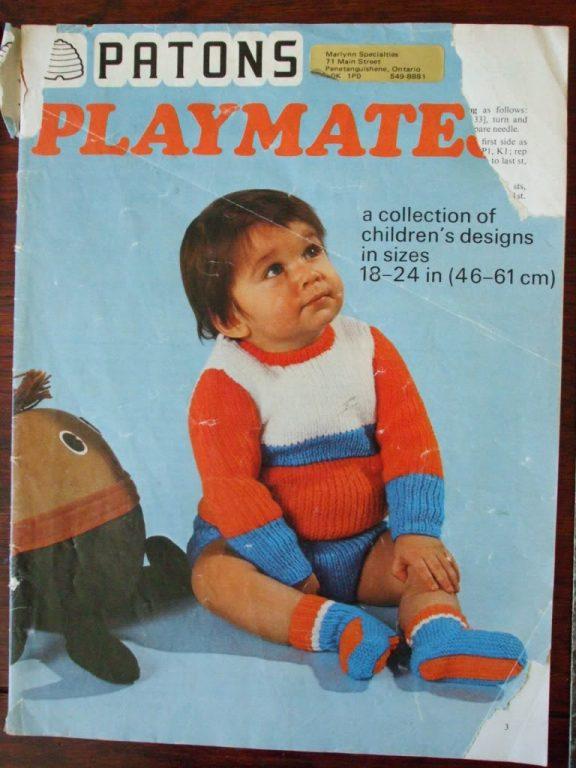 Patons Playmates knit patterns hood sweater poncho \'78 ...
