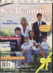 Sew Beautiful Mag Heirloom Sewing Smocking Pattern 1991