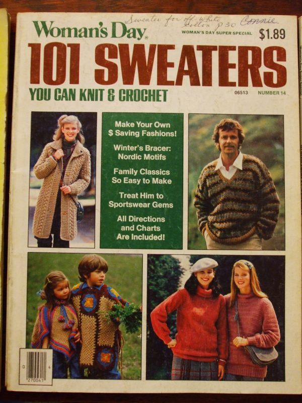 Womans Day 101 Sweaters Knit & Crochet Patterns Jan 1981