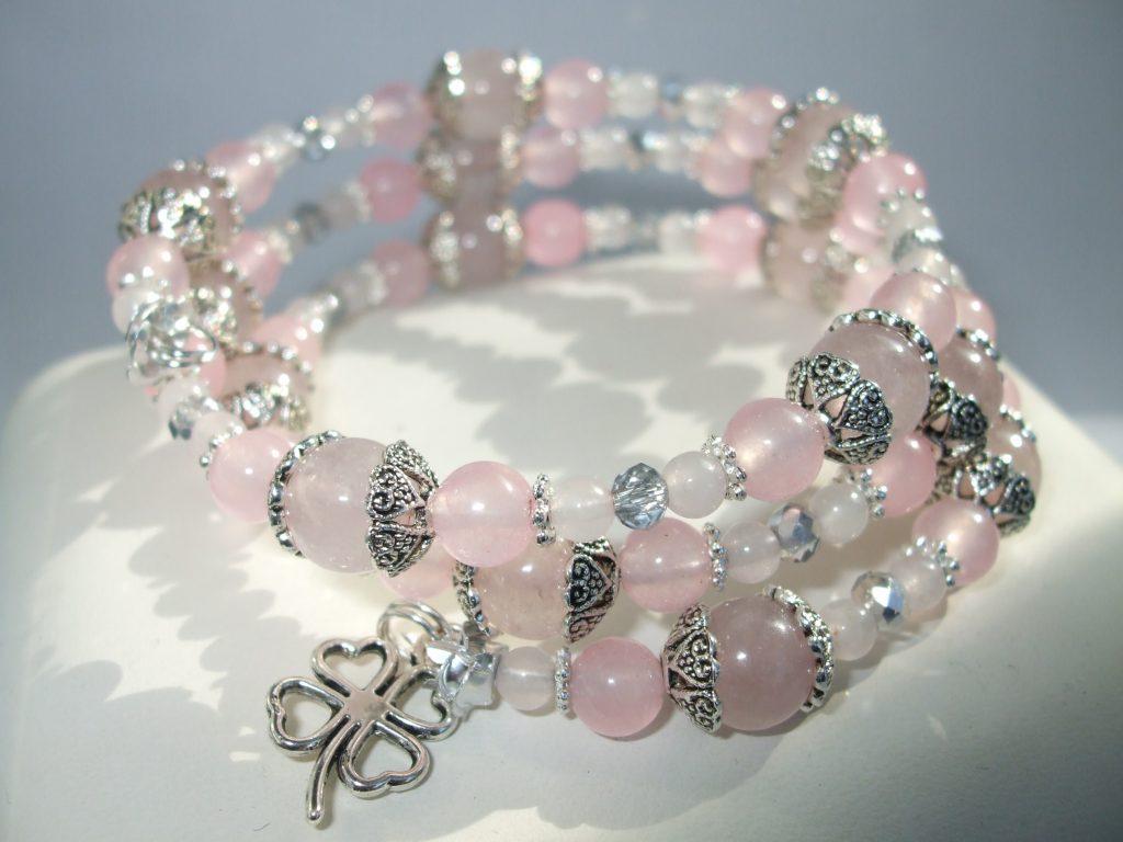 Natural Rose Quartz bead memory wire clover charm bracelet BC018 ...