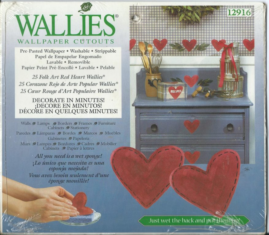 Wallies Wallpaper Cut Outs 25 Folk Art Hearts Red Pre Pasted