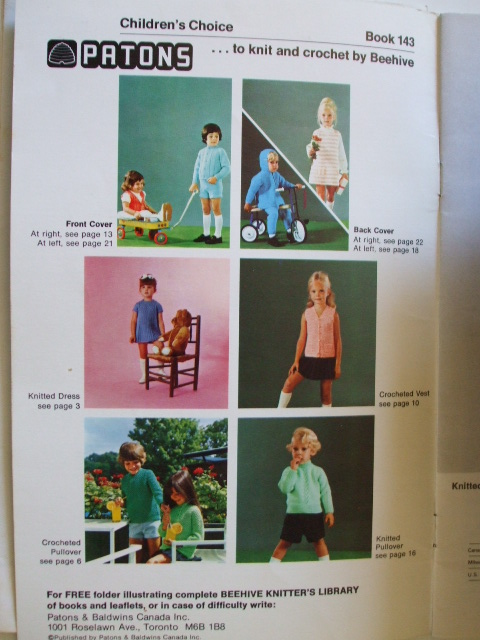 Children Baby Babies Knitting Crochet Clothing Patterns Patons