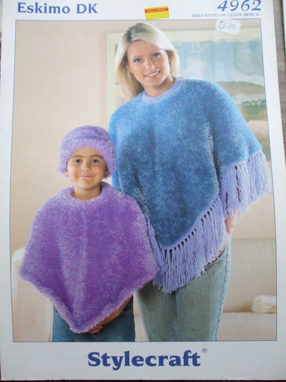Knitting patterns Eskimo DK Stylecraft Girls outerwear poncho cape ...