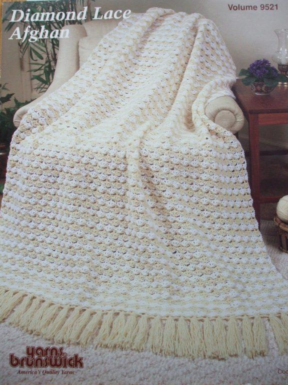 Crochet patterns afghans x6 Bouquet Patons Yarns Brunswick Diamond ...