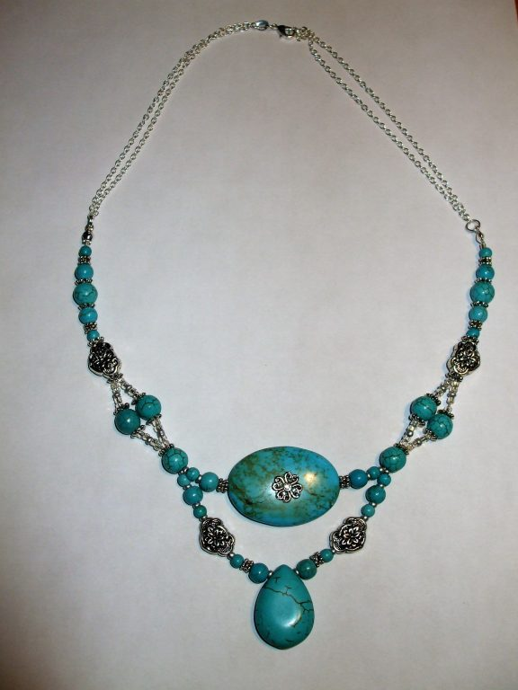 Turquoise Howlite Statement Necklace Bracelet Earrings Set