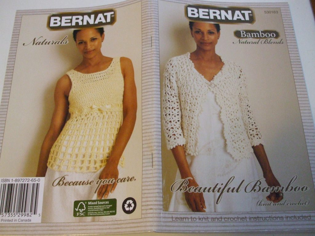 Bernat 530163 Bamboo Knit Crochet Patterns X8 Tank Vest Shell Cover