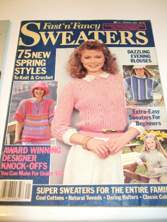 Vintage Knit Crochet Pattern Magazines Sweaters Halter Pullover