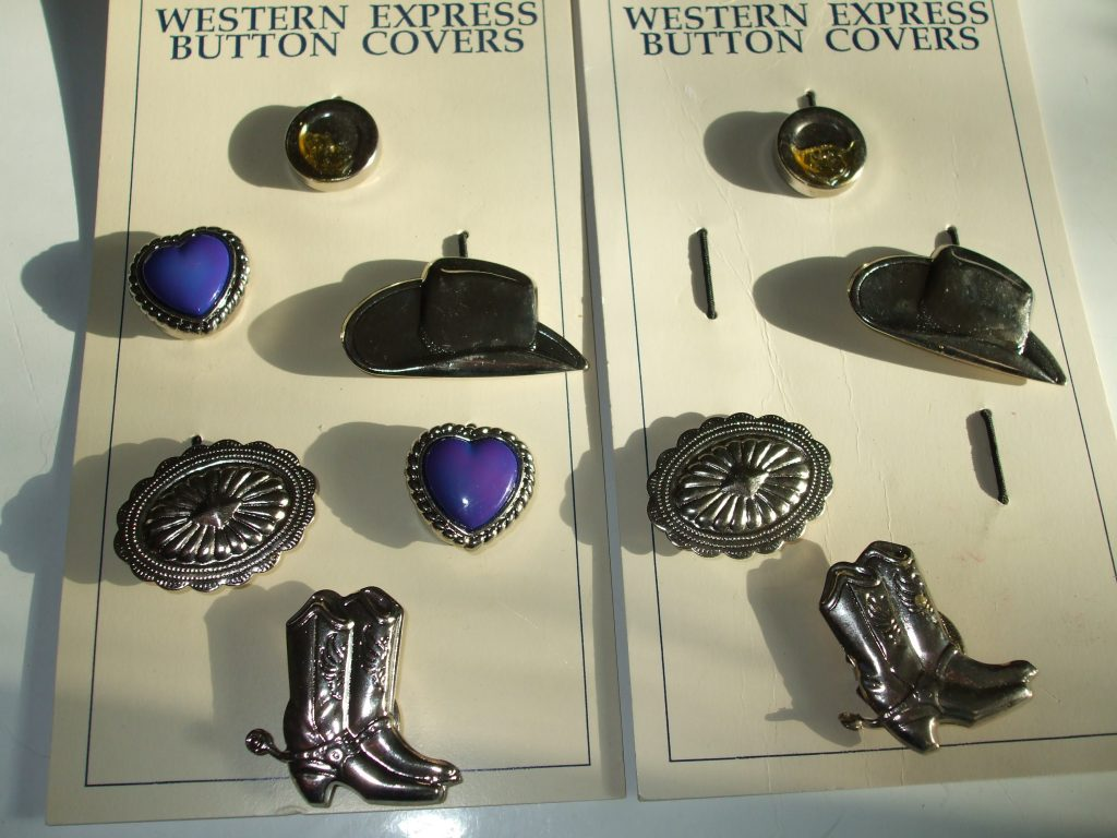 Cowboy Western wear accessories button covers, collar tips ...