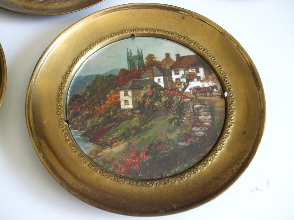 Brass Foil Art Vintage Wall Plates Made In England X4