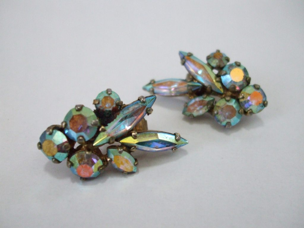 Vintage 1940 S Signed Sherman Aurora Borealis Swarovski Crystal Clip On Earrings